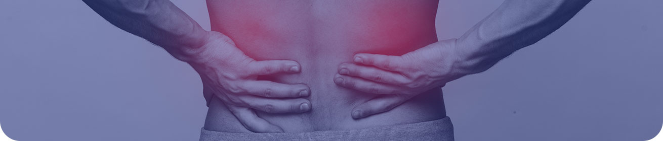 Banner image: close-up of hands on lower back, red marks added to indicate pain