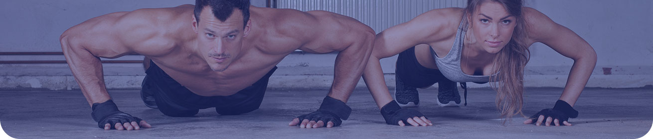 Banner image: a well-muscled couple in workout gear doing planks