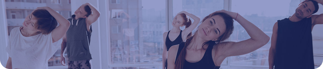 Banner image: a group at an exercise class, pulling their heads to the side in a neck stretch