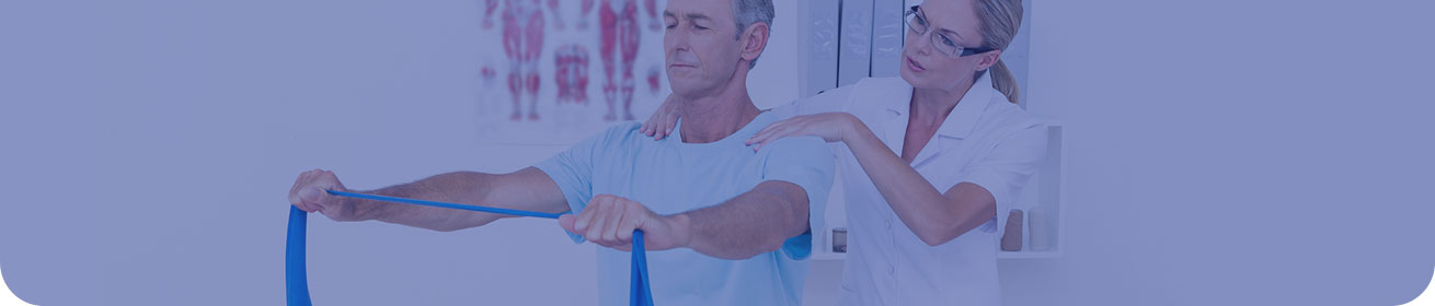 Banner image: A medical professional helping a patient with a strengthening exercise