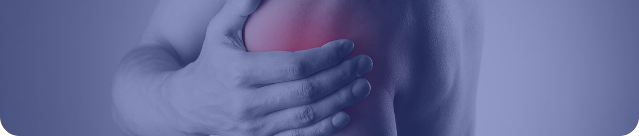 Banner image: close-up of a hand clutching a should, with red added to indicate pain