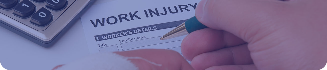 Banner image: a close-up of someone filling out a work injury form