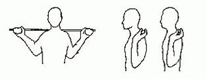 A cartoon demonstration of a standing axial extension: while holding a bar across the shoulders with both hands, tuck your chin in and down, hold, then release