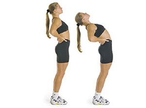 A two-part image, showing a woman first standing up straight, then bending backwards in a stretch