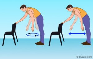 A two-part cartoon of a man bending over slightly with one hand gripping a chair, the other hand hanging down loosely. In the first image, he rotates the hanging arm in a circle, and in the second he swings the arm back and forth in a straight line.