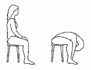 A two-part cartoon of a woman first seated upright on a stool, then bending forward with her arms stretched down towards the floor