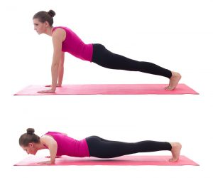 A two-part image, first with a woman performing a raised plank, then performing a lowered plank