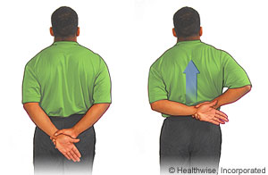 A two-part cartoon of a man with his arms behind his back, first at rest with one hand holding the other wrist, then with the gripping hand pulling the other arm upwards