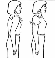 A two-part cartoon showing shoulder circles, first a relaxed shoulder, then with the shoulder pulled back