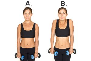 A two-part image of a woman holding dumbells, first with relaxed shoulders, then with her shoulders pulled up towards her ears