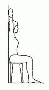 Cartoon drawing of a woman sitting on a stool with her back against the wall and arms raised up
