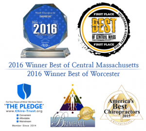 2016 Best of Central Mass and other Chiropractor Award Logos